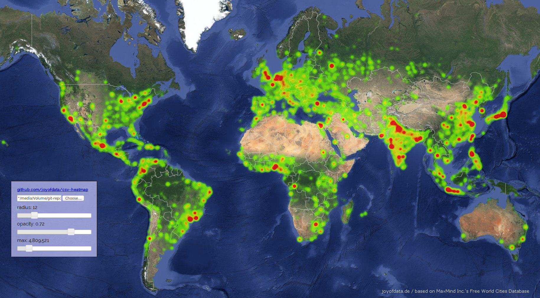 Interactive Heatmaps With Google Maps API V Joy Of Data - Google world map satellite free